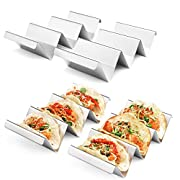 #LightningDeal Taco Holders 4 Packs - Stainless Steel Taco Stand Rack Tray Style by Artthome, Oven Safe for Baking, Dishwasher and Grill Safe