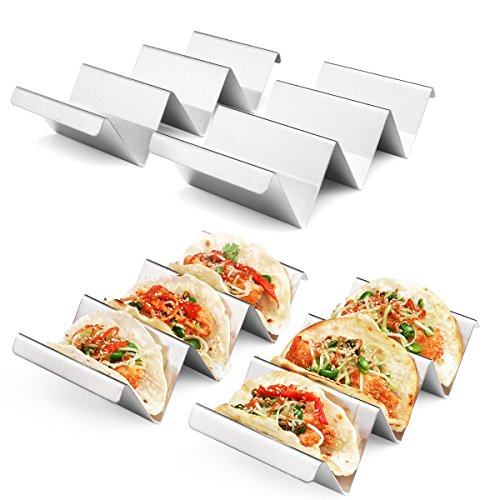 (Taco Holder Stand 4 Packs - Stainless Steel Taco Rack Truck Tray Style by Artthome, Oven Safe for Baking, Dishwasher and Grill Safe)