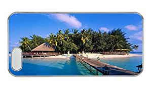 Customized iphone 5S for cheap cases Maldives island beach bridge house trees sky sea PC Transparent for Apple iPhone 5/5S