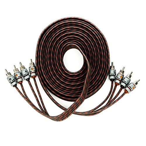 Alphasonik 17 Feet Premium 4 Channel Hyper-Flex RCA Interconnect Signal Patch Audio Cable with X-Radial Twist Wire Technology 100% Oxygen Free Copper Element Certified Multiple Applications ()