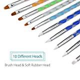 Meuxan 10 Piece Dotting Tools Painting Brushes Set for Nail Art, Rock Painting, Embossing Pattern, Pottery & Clay Craft