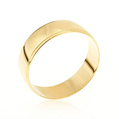 Kareco Unisex 9ct Yellow Gold 6mm D Shape Wedding Ring Jo9iysVa0E