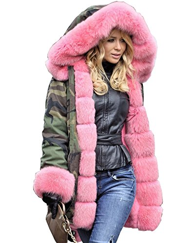 Roiii Women Militray Outdoor Parka Hoodie Fur Lining Jacket Coat Winter Overcoat (XX-Large, Army Green With Pink Fur)