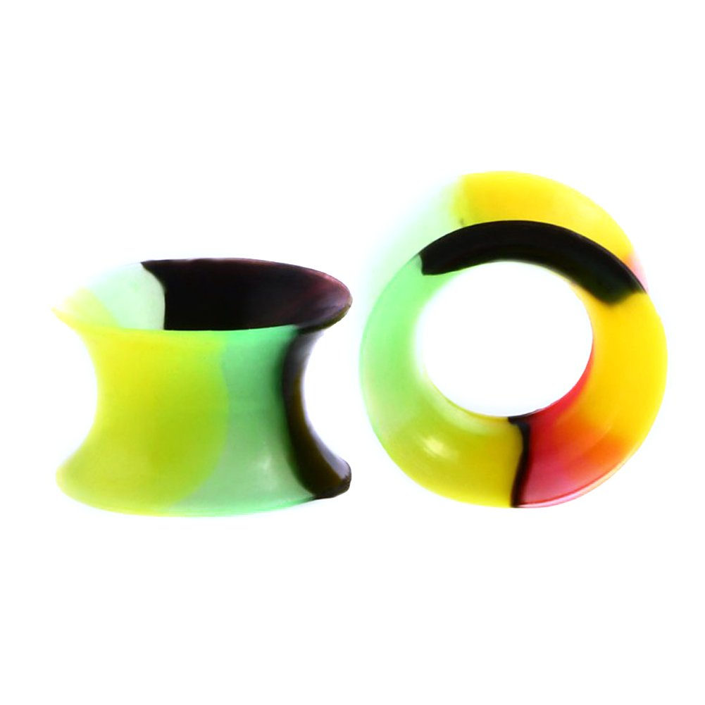 Silicone Ear Gauges - Silicone Mixed Colors Ear Tunnel Ear Stretchers Gauges Plugs Gauge 6MM-14MM Pack of 22 zhuoshuo ek