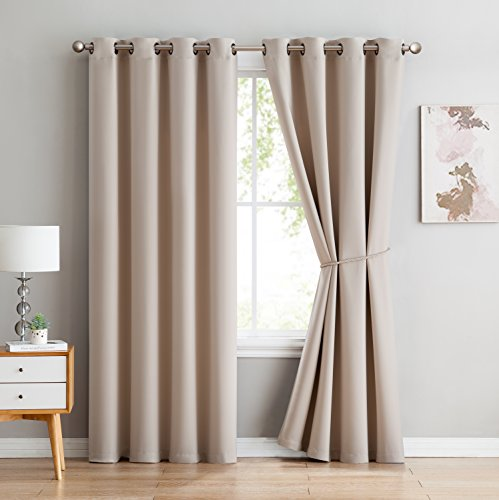One Grommet - Nicole - Premium Thermal Insulated Blackout Curtain Panel - 8 Grommets - 1 Rope Tieback - 54 Inch Wide - 84 Inch Long (1 Panel 54W x 84L, Ivory)