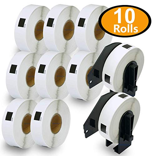 10 Rolls Brother-Compatible DK-1204 17mm x 54mm(2/3 x 2-1/8) 400 Labels per Roll With Two Refillable Cartridge