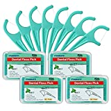FAMILIFE Floss Picks Mint Dental Floss Picks M-01 with 4 Travel Handy Cases 240 Counts Flossers