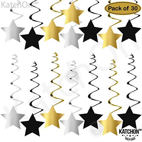 KATCHON Hanging Star Swirls Decorations Kit - Gold, Black and Silver | No DIY Requried | Great for Graduation Decorations Party Supplies , Events, New Year Black and Gold Party Decorations -