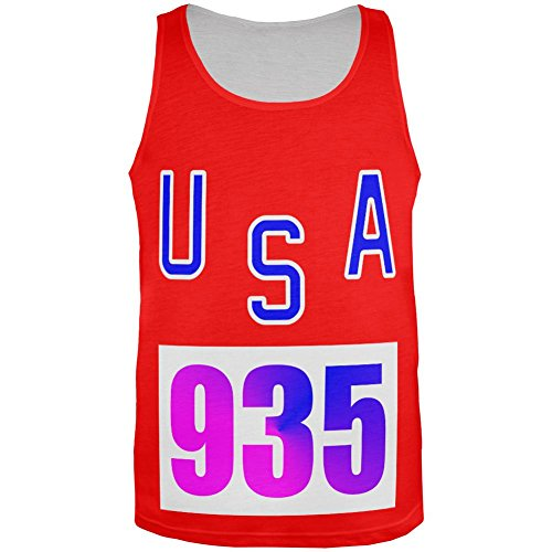 Bruce Jenner Costume (Team Bruce Jenner USA 935 Olympic Costume All Over Mens Tank Top Multi SM)