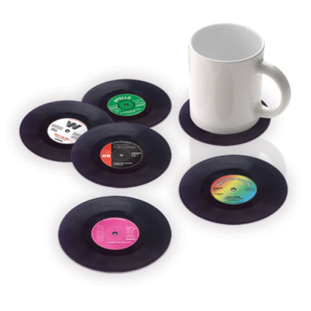 MAXGOODS Creative Vinyl Record Cup Drinks Coaster Holder Mat Placemat,6-Pack