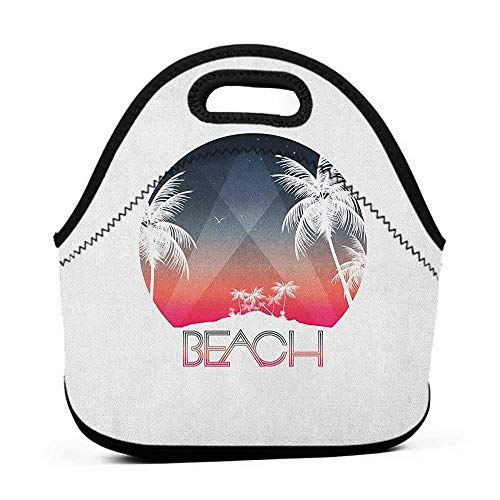 for Womens Mens Boys Girls Beach,Beach Party Tropical Island and Palm Trees with Starry Night and Birds Illustration, Multicolor,female lunch bag for -