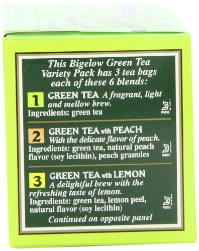 Bigelow 6 assorted green tea bags, 18-count box (pack of 6), caffeinated green tea, 108 tea bags total 5 healthy antioxidants: enjoy the health benefits of green tea with this delightful variety pack, containing: classic green tea, green tea with peach, green tea with lemon, green tea with mint, decaffeinated green tea, and green tea with pomegranate. Individually wrapped: bigelow tea always come individually wrapped in foil pouches for peak flavor, freshness, and aroma to enjoy everywhere you go! Gluten -free, calorie-free, & kosher certified; bigelow tea delivers on all the health benefits of tea. Try every flavor: there's a bigelow tea for every mood and every time of day. Rise and shine with english breakfast, smooth out the day with vanilla chai, get an antioxidant boost from green tea, or relax & restore with one of our variety of herbal teas.