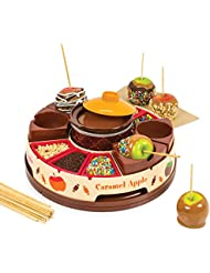 Nostalgia CCA5 Lazy Susan Chocolate & Caramel Apple Party with Heated Fondue Pot, 25 Sticks, Decorating and Toppings Trays