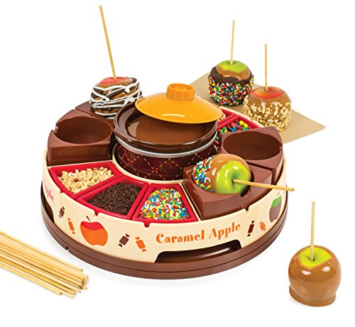 Nostalgia CCA5 Lazy Susan Chocolate & Caramel Apple Party with Heated Fondue Pot, 25 Sticks, Decorating and Toppings -