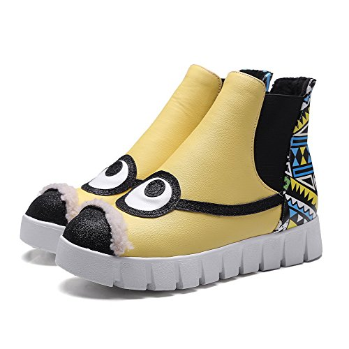 Low Color Heels Top Boots Round Assorted Material Soft Low WeenFashion Toe Yellow Closed Women's qHw86PC
