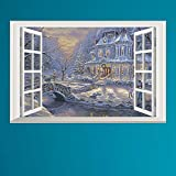"""DNVEN (23""""w X 15""""h) 3D High Definition Christmas Winter Castle Snowing False Faux Window Frame Mural Vinyl Bedroom Living Room Playroom Wall Decals Stickers"""