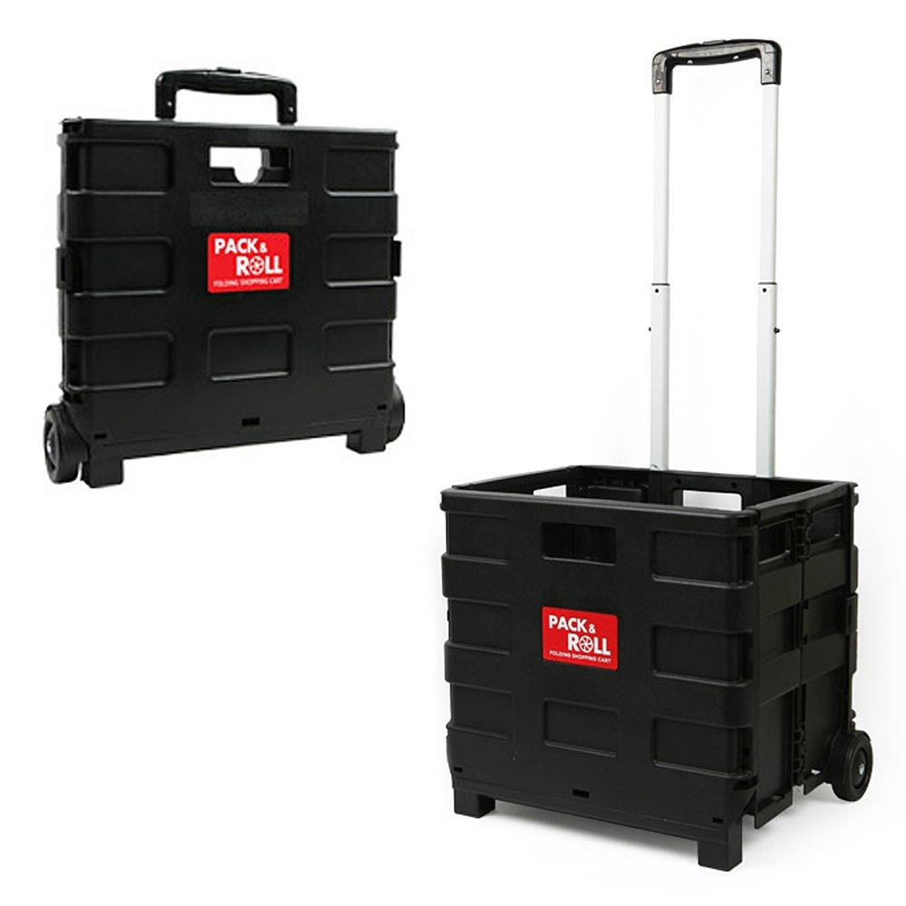 Pack and Roll 折り畳み式のショッピングハンドカートマートショッピングカート [海外直送品] (ラージ(35kg)ブラック) B079CNC4P7 ラージ(35kg)ブラック