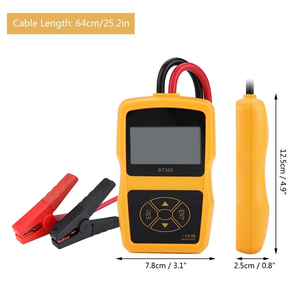 Probador de bater/ía de autom/óvil Keenso 12V BT-360 Probador de sistema de bater/ía de carga automotriz Analizador digital Herramienta de prueba de celda Multi-idioma Negro + Amarillo