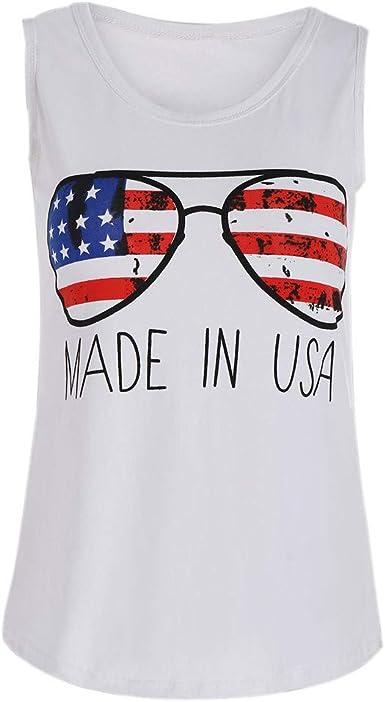 VEMOW Sling Tops Mujeres con Bandera Americana Gafas de ...