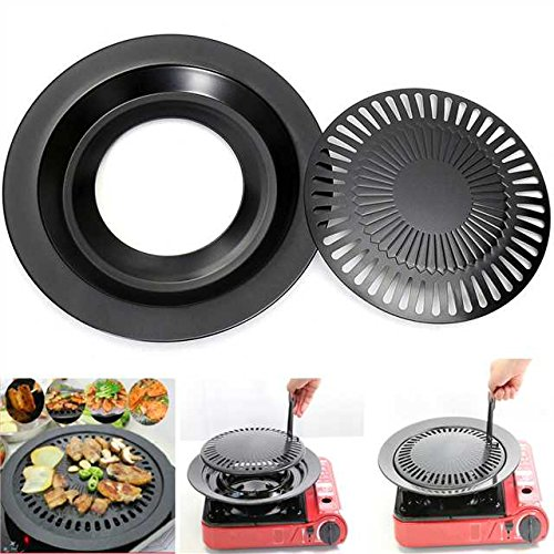 Barbecue Stovetop (Janolia Korean Stovetop, Non-Stick Smokeless Roasting Round Barbecue Grill Pan for Indoor Outdoor BBQ, Making Delicious BBQ Food Roasted Meat Vegetable)