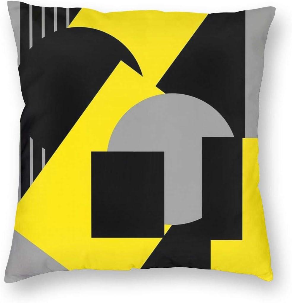 Funda de cojín geométrica abstracta Art Deco Mash Up gris amarillo terciopelo suave decorativo cuadrado funda de almohada para sala de estar sofá dormitorio con cremallera invisible 20 x 20 pulgadas