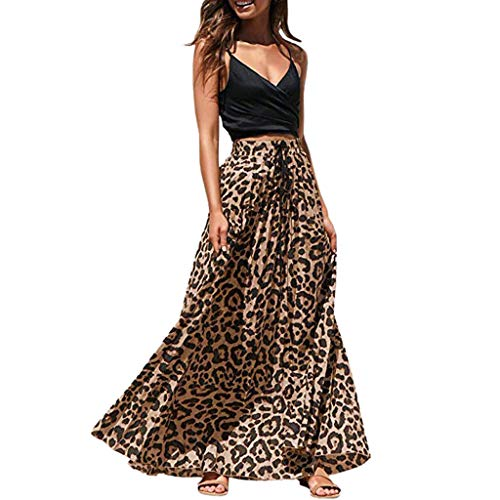 (VEZAD Womens Leopard Print Long Drawstring Pleated High Waisted Bohemian Maxi Skirt)