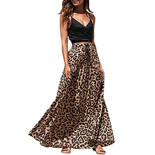 Elastic Long Skirt for Women, Leopard Print Maxi Skirt Summer Clearance Drawstring Pleated Skirts High Waisted vintagemian Dress lkoezi