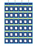 Numbered Classroom Pocket Chart Cell Phones Holder Door Hanging Organizer with Hooks for Calculators and All iPhones (36 Pockets, Blue)