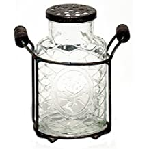 "5.5"" Glass Jar Vase with Metal Holder & Flower Frog Lid Country Home Decor"
