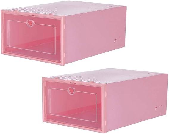 Caja de zapatos de almacenamiento transparente 2 PC, organizador de zapatos – estantes apilables para armarios y armario de almacenamiento para zapatos de entrada para hombres y mujeres, rosa, S: Amazon.es: Hogar