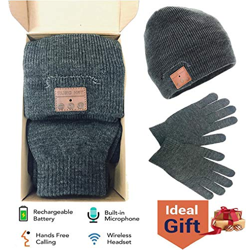 Bluetooth Beanie Hat Touch Screen Gloves Gift Pack, Wireless Outdoor Sports Bluetooth5.0 Beanie Music Hat with Stereo Headphone Headset Speaker Mic Hands-Free Phones Gray