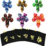 Polyhedral dice Role Playing Game Dice Double Colors Dice Set d&d for Dungeons and Dragons DND RPG MTG with The Dragon Pouch