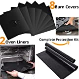 electric 2 eye burner - Ian's Choice Stove Burner Covers 8 Pack with Large Oven Liner 2 Pack Bundle Ultimate Stove Burner Gas Ranger Protectors Kit:FDA Approved, Reusable, Non-Stick, Heat-resistant, BPA and PFOA Free