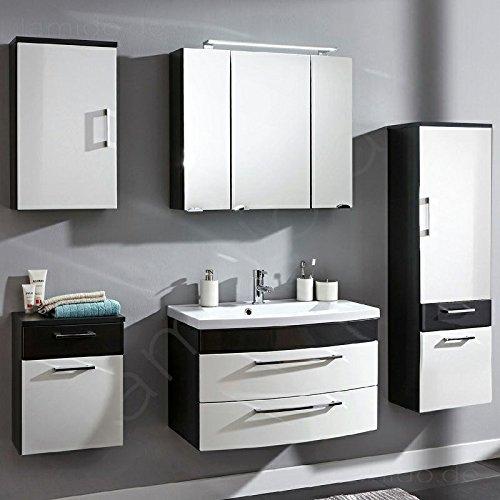 Badezimmermöbel Badezimmer Badmöbel Set RIMAO-02 Hochglanz weiß, anthrazit, 80cm Waschtisch, LED Spiegelschrank (5 teilig)