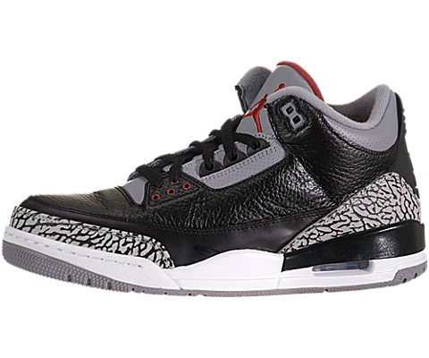 Nike Mens Air Jordan 3 Retro Black/Varsity Red-Cement Grey Leather Size 9 (Varsity Red Cement)