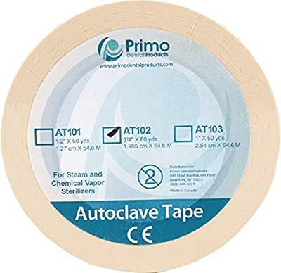"Primo Dental Products AT103 Autoclave Sterilization Indicator Tape, 1"", 60 yd"