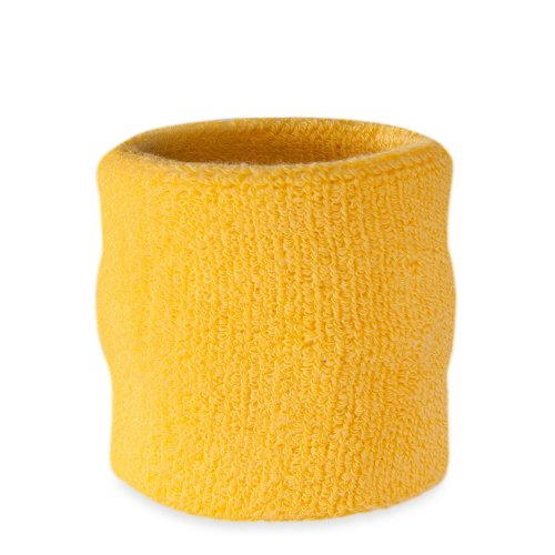 Suddora Wrist Sweatband - Athletic Cotton Terry Cloth Wristband for Sports (Yellow)(1 Piece) (Goku Wristband)