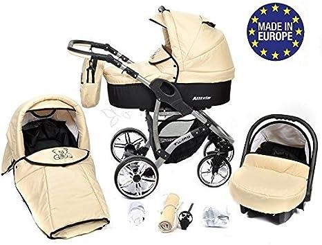 Allivio - Sistema de viaje 3 en 1, silla de paseo, carrito con capazo y silla de coche, RUEDAS GIRATORIAS y accesorios (Sistema de viaje 3 en 1, crema)