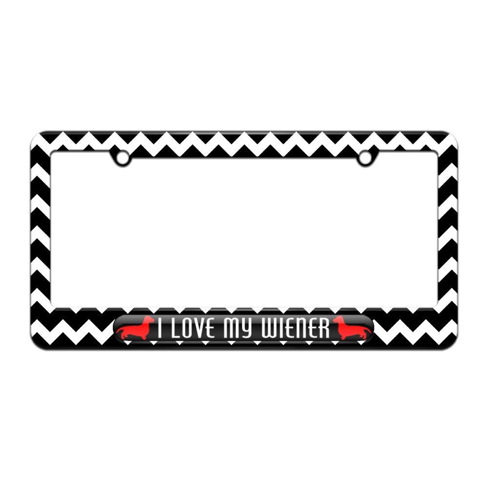 I Love My Wiener Daschund License Plate Tag Frame