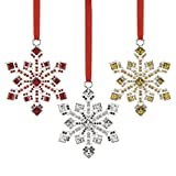 Reed & Barton Jeweled Snowflake Ornament, Set of 3 Ornament