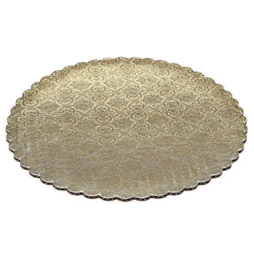 25cm Gold Scalloped Edge Cake Boards, 6 ct   B06VX428SY