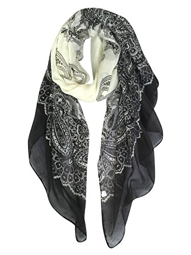 GERINLY Women's Scarves: Fashion Color Paisley Print Oblong Wrap Scarf