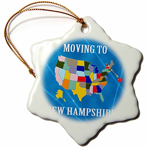 Map Moving Announcement (3dRose Beverly Turner Moving to - United States Map, Moving to New Hampshire, Heart and Car, Luggage - 3 inch Snowflake Porcelain Ornament (orn_233576_1))