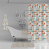 iPrint Bathroom 4 Piece Set Shower Curtain Floor mat Bath Towel 3D Print,Circles Rings Ovals Rounds Baby Nursery Kids,Fashion Personality Customization adds Color to Your Bathroom.