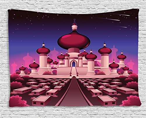 Ambesonne Fantasy Tapestry, Arabian Castle at Night Oriental Fairy Tale Palace Landscape Illustration, Wall Hanging for Bedroom Living Room Dorm, 80 W X 60 L Inches, Magenta Indigo (Arabian Nights Wall Art)