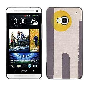 GOODTHINGS ( NO PARA HTC ONE MINI M4) Funda Imagen Diseño Carcasa Tapa Trasera Negro Cover Skin Case para HTC One M7 - sol amarillo desierto minimalista gris