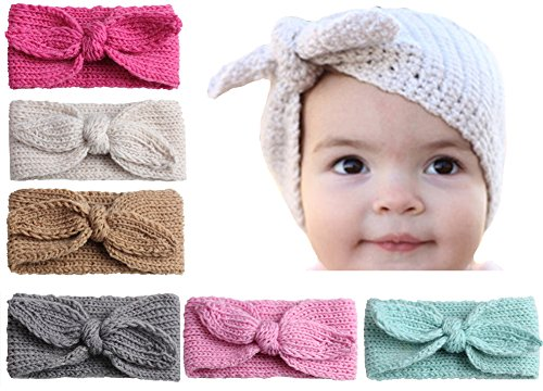 Qandsweet Baby Turban Head Wrap Headbands Girl Knitting Rabbit Ear Hairbands (Pack of 6)