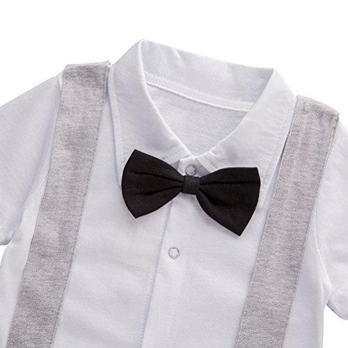 XM Nyan May's Baby Boys Short Sleeve Bowtie Faux Suspenders Tuxedo Romper