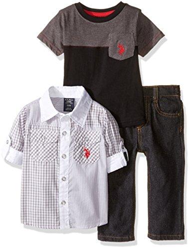 U.S. Polo Assn. Boys' 3 Piece Long Sleeve Fancy Sport Shirt, T-Shirt Or Creeper, and Denim Jean Set, Grey/Black, 12M