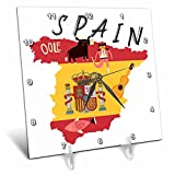 3dRose TNMGraphics Countries - Map of Spain With Flag and Icons - 6x6 Desk Clock (dc_286294_1)